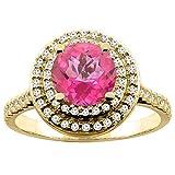 14ct blanco/oro amarillo Natural color topacio Redondo anillo de doble Halo 7 mm Diamond Accent 1,27 cm de ancho, de tallas J - T