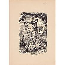 Federzeichnung zu Richard Strauß, Eulenspiegel. Eulenspiegel mit abgenommener Narrenkappe steht auf einer Leiter zum Galgen vor Publikum, unten Motiv von Richard Strauß. (Hinauf auf die Leiter! Da baumelt er, die Luft geht ihm aus, eine letzte Zuckung )