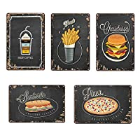 AMITD Bar Wall Decoration, Pizza Hot Dog Metal Sign Vintage Metal Tin Signs Home Decor Painting Plaques Art Poster for Shop Home Kitchen Pizzeria Signs 20X30cm,Black