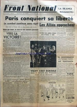FRONT NATIONAL [No 1] du 22/08/1944 - PARIS CONQUIERT SA