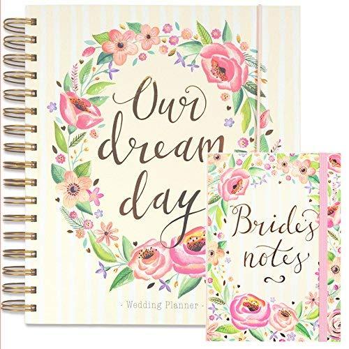 Set da wedding planner, con grande agenda per matrimoni e blocco note in coordinato per la sposa, motivo: floreale, un perfetto regalo di fidanzamento