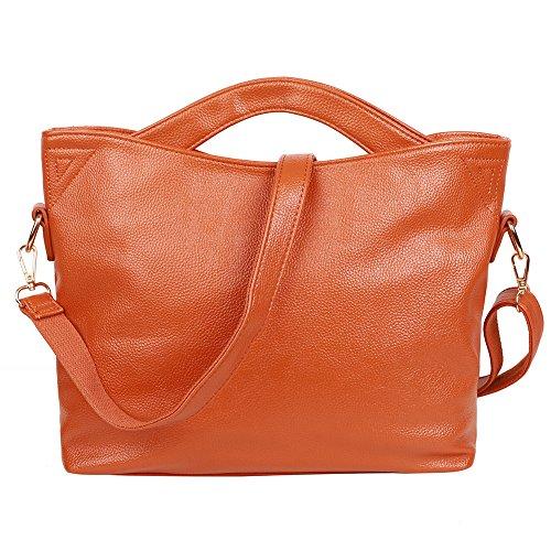 EGOGO Einkaufstasche Split Leder Umhängetasche Damen Handtasche Klassische Leder Umhängetasche Braun