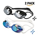 VETOKY [2 Pack] Swimming Goggles, Adults UV Protection Swim Goggles Racing No Leaking