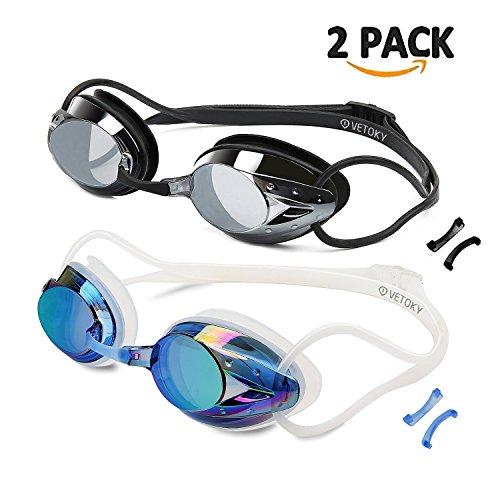 VETOKY [2 Stück Schwimmbrillen, Verspiegelt Schwimmbrille Antibeschlag UV Schutz kein Auslaufen...