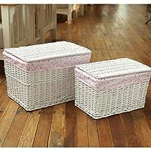 Mano y cesta tejida Bolso extra grande (S + L) Hechas a Mano Estilo Pastoral Conjunto canasta de almacenamiento ( Color : Pink )