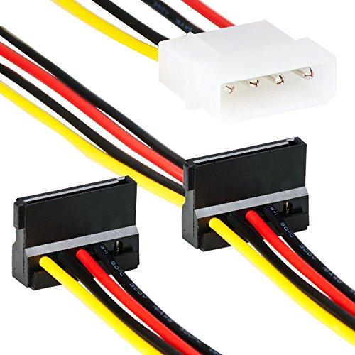 4 Pin Molex zu 2X Sata Splitter   35cm   Adapter Kabel   4 Polige Molex/IDE Stromanschluss Female zu 2 x HHD2 15-Pin S-ATA 3 Female   Strom-Kabel für PC Festplatte Motherboard Lüfter Grafikkarte