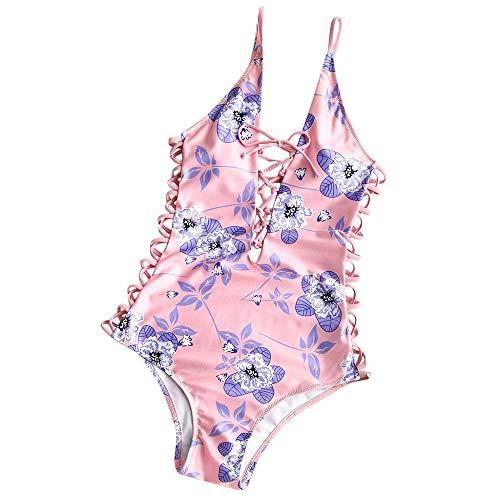 PinkLu Badeanzug Dame Beachwear-Bikini Blumendruck Urlaub Am Meer Slim Fit Einfach Und Bequem Sommer Neuer HeißEr RüSchen Rosa Einteiliger Badeanzug