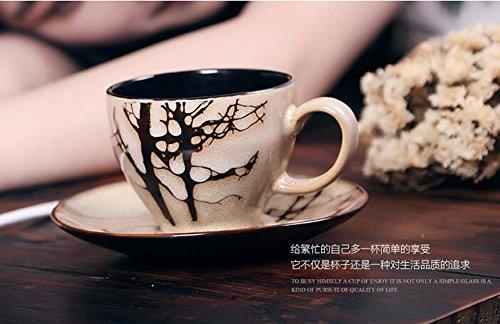 SSBY Des tasses à café et soucoupes en céramique tasse mug à la restauration d'anciennes façons de tasse de lait tasse tasse à café avec cuillère,D