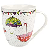 The Caravan Trail Festival - Taza de porcelana, diseño de paraguas, multicolor