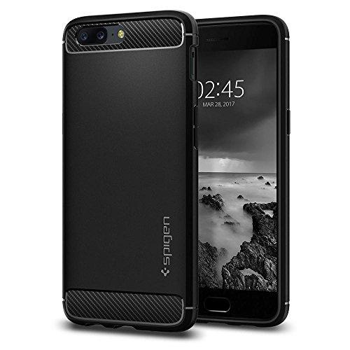 Spigen K04CS21513 [Rugged Armor] Coque OnePlus 5, TPU Souple [Noir] Resistant Anti-Choc/Fibre de Carbone/Coque Etui Housse OnePlus 5 2017 Noir