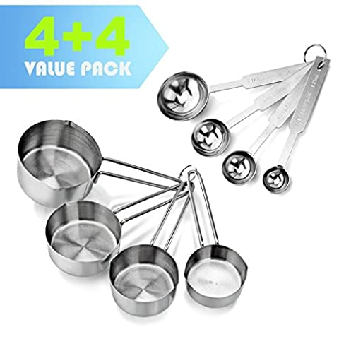 AckMond Stainless Steel 8pcs Measuring Cups and Spoons Combo Set/ Tablespoons Measuring Set for Dry and Liquid Ingredients - Prefect for Cooking or Baking
