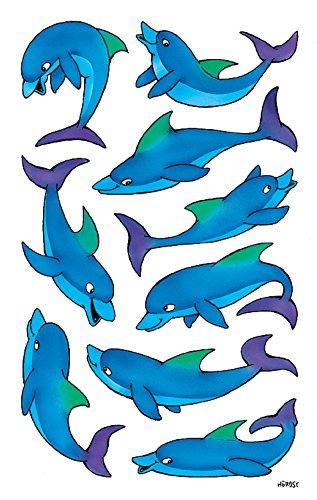 AVERY Zweckform 53444 Aufkleber für Kinder (Delfine, Papiermaterial mit Glitzer) 2 Bögen, 18 Sticker -