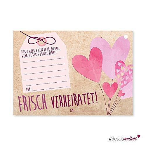 50 Luftballon-Karten Frisch verheiratet I dv_167 I DIN A6 I Set Ballon-Flugkarten Wunschkarte rosa Herz Hochzeit I für große Helium-Luftballons