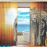 Yibaihe Mnsruu Vorhang mit Leopardenmuster, durchsichtig, 198 cm lang, Voile, für Wohnzimmer/Schlafzimmer