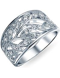 Bling Jewelry Estilo Milgrain CZ SALE BANDA Anillo de plata esterlina 925 hojas