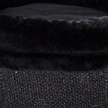 Cat Scratching Barrel Multi Level Plush Bed Natural Sisal Black 4