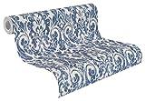 rasch Vlies-Tapete, Blaue Ornamente auf beigem Grund, Shabby Chic, klassisches Muster, Souvenir 516241