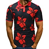 GreatestPAK V-Ausschnitt T-Shirt Mens Print Blumenknöpfe Design Half Cardigans Kurzarm-Tops