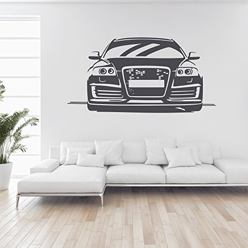 malango® Wandtattoo - Auto A6 S6 Tuning Wand Tattoo Wandaufkleber Fahrzeug Autowelt Quattro Design Style Aufkleber ca. 120 x 60 cm schwarz
