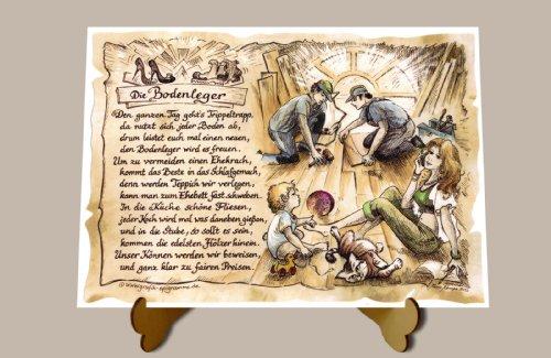 Geschenk Bodenleger Fußbodenleger Zeichnung Color 30 x 21 cm mit Aufsteller