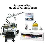 Komplett Airbrush Set Custom-Painting 9303 Evolution Silverline 2in1 + Sparmax TC-610H-n Kompressor