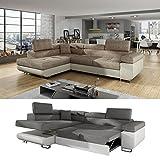 Moebel89 Große Couch Anton in beige/cappuccino L-Form, Farbe wie abgebildet, Ottomane links/Ecksofa, Eckcouch, Wohnlandschaft, Schlafsofa in BxTxH: 275 cm x 202 cm x 90 cm