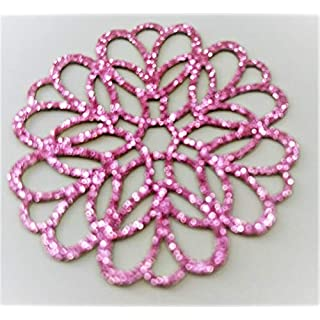 2x Pink Rosette 5 cm Bling Glitter Iron-On Hotfix Patch Applique