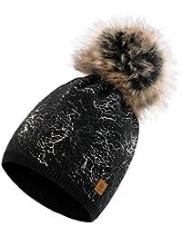 Romens Ltd Donne Cappelli Invernali Cappello Cristallo Grande Pom Pom  Invernale Berretto Beanie Hat Sci 47ad06fe34d9