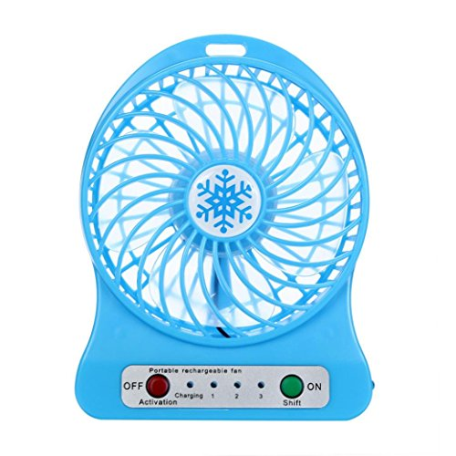 Preisvergleich Produktbild FNKDOR Portable Rechargeable LED Light Fan Air Cooler Mini Desk USB 18650 Batterie Ventilateur (bleu)