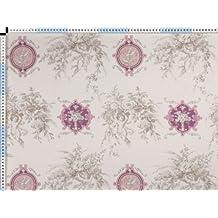 Tela de tapicería, tela de tapicería, tela de tapicería, tela, tela de la cortina, - Angelique, rose - crema blanca toile de Jouy de la tela con un motivo romántico de impresión