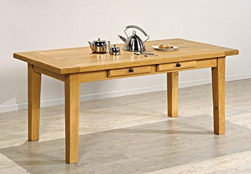 Macazba 7105GP11 Table de Ferme Plateau Épaisseur 4,5 cm avec 2 Tiroirs et Pieds Gaines 200 x 100 x 77 cm Chêne Doré