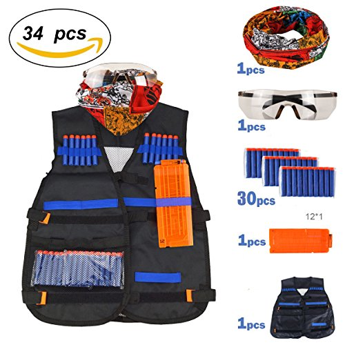 airtana Tactical Weste Kit für Hasbro Nerf Guns N-Strike Elite Serie mit 30 Refill Darts, Reload Clips, Maske, Schutzbrille, Handgelenk Band