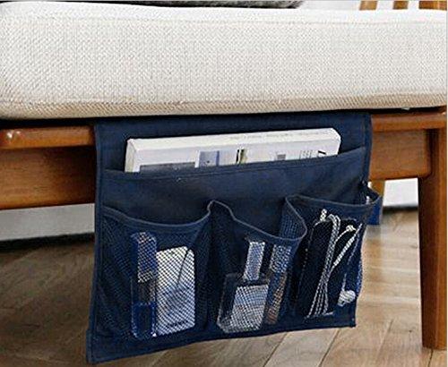 Comodini Storage Materasso libro Tv Remote Caddy, Dorm Room iPad iPhone Custodia rivista Caddy Organizzatore Tasche divano letto Tidy Hanging Borsa Computer tasche per letti a soppalco 4 Pockets-Red blu