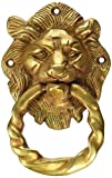 #8: Purpledip Brass Metal Door Knocker: Antique Design Royal Lion Handle (11020)