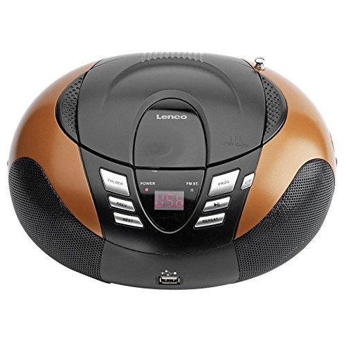 Lenco Radio mit CD/MP3-Player SCD-37 Tragbares UKW/MW Radio mit USB (Teleskopantenne, USB), orange