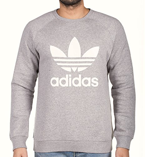 adidas Herren Trefoil Crew Sweatshirt, Medium Grey Heather, XL (Heather Grey Medium)