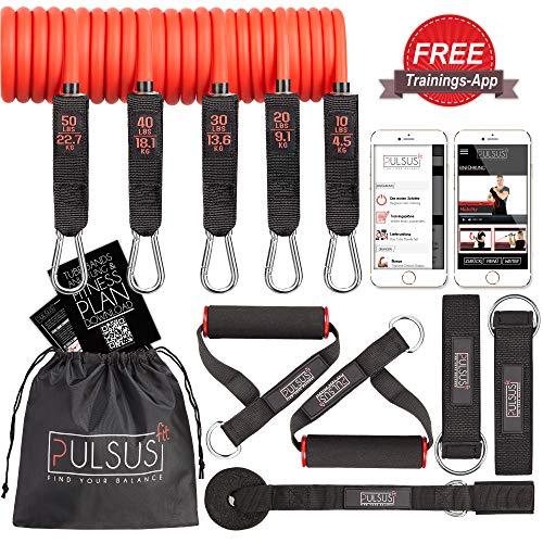 PULSUS fit Fitnessband Resistance Bands Set mit Übungsvideo App - Pro Expander Bänderset: 5 Widerstandsbänder, Griffe, Fußschlaufen, Türanker & Tragetasche | Sling Trainer