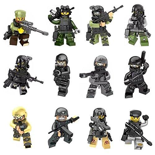Bei Armee-figur (Mini Figuren Set-12 Stück Armee Minifiguren SWAT Team mit Militärwaffen Zubehör, Gebäude Bricks of Polizist Soldat, Building Blocks Kinder pädagogisches Spielzeug-Geschenk Lego kompatibel (12Minifiguren))