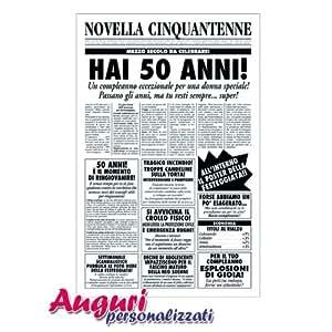 Biglietto Auguri Giornale Compleanno 50 Anni Amica Amazon It
