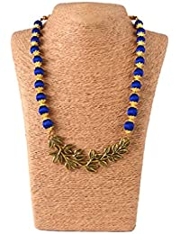 Nisuj Fashion's Silk Thread Small Leaf Jewellery Set With Matching Hook-Drop Earring Blue & Golden Metallic/Glossy...