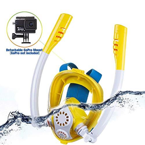 LLF Masque de Plongée, Masque de Plongée Facial Complet avec Support pour Caméra de Sport, Anti-buée À Rotation sur 360 °, pour Adultes et Enfants (Color : Yellow, Size : XS)