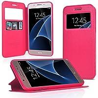 UKDANDANWEI Samsung Galaxy A5 2016 [Rr] Coque Étui - Magnétique View avec Fenêtre Etui Cuir Coque housse et Stand pour Samsung Galaxy A5 2016?Rose