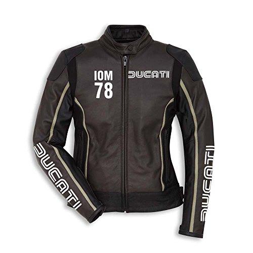 Ducati 9810412 Damen Motorradjacke Lederjacke Sport Racing IOM 78 C1 braun-schw (44 (DE38))