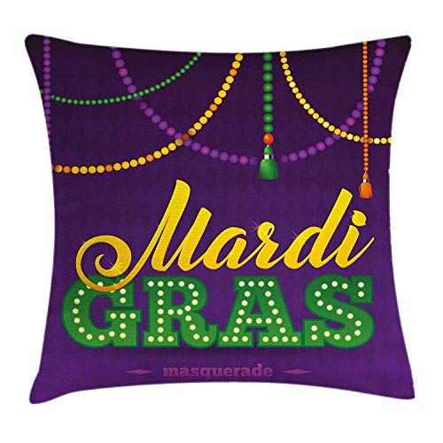 Mardi Gras Throw Pillow Cushion Cover, Beads and Tassels Masquerade Theme Calligraphy Design Fun Print, Decorative Square Accent Pillow Case, 18 X 18 Inches, Purple Marigold Fern Green (Masquerade Theme Decorations)