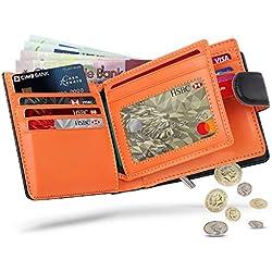 WILBEST Billetera de Hombre de Piel, Cartera RFID, Carteras Hombre con Monedero - Bloque 13.56 MHz, Cartera Personalizada Función de 4 en 1, Botón Diseño de Bolsillo con Cremallera, Negro Naranja