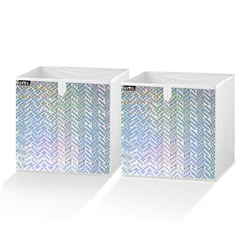 Silver Cube (Umi. Essentials Foldable Storage Cube Bins Container Drawer Organizer,10.5(W) x 10.5(D) x 11(H) inches (Holographic Silver, Set of 2))