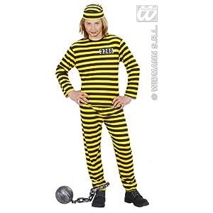 WIDMANN WDM72948-Disfraz de preso para niños, Talla S (158cm, de 11a13años), Color Amarillo/Negro