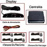 Fologar 6 Sensores Aparcamiento Gris Plata con Display y Pantalla 4 Traseros y 2 Delanteros
