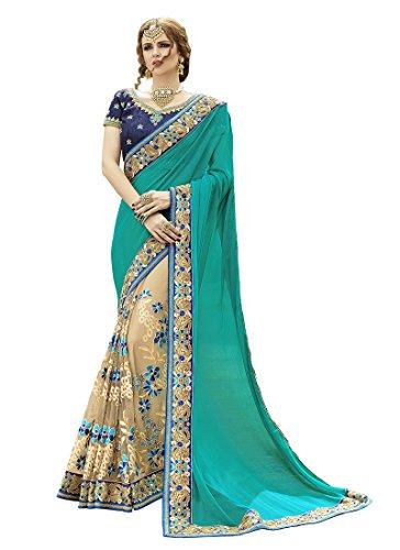 Sareeshop Net Saree With Blouse Piece (Avivarama_Turquoise & Beige Saree_Free Size)