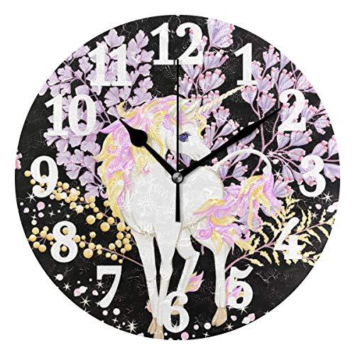 Ahomy Fantastische rosa Einhorn Blumen Glitzer Ziffern Wanduhr 24cm Runde Uhr leise Nicht tickend batteriebetrieben leicht ablesbar für Zuhause Büro Schule
